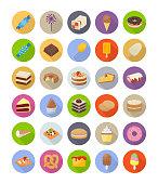 Desserts Flat Icons Pack
