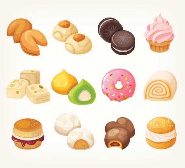 bildbanksillustrationer, clip art samt tecknat material och ikoner med desserter för te - scone