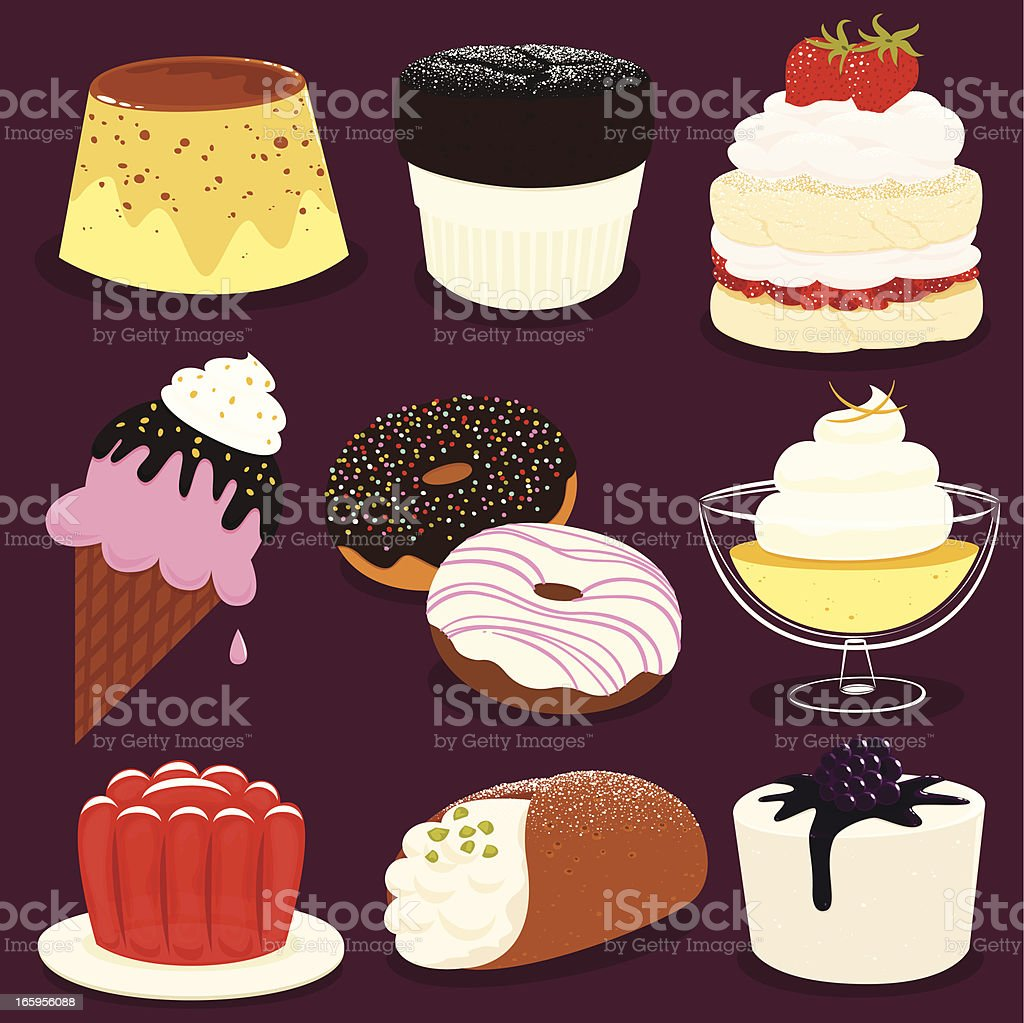 Desserts icon set - EPS8 royalty-free desserts icon set eps8 stock illustration - download image now
