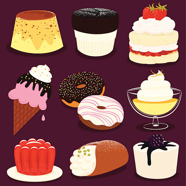 Desserts icon set - EPS8 vector art illustration