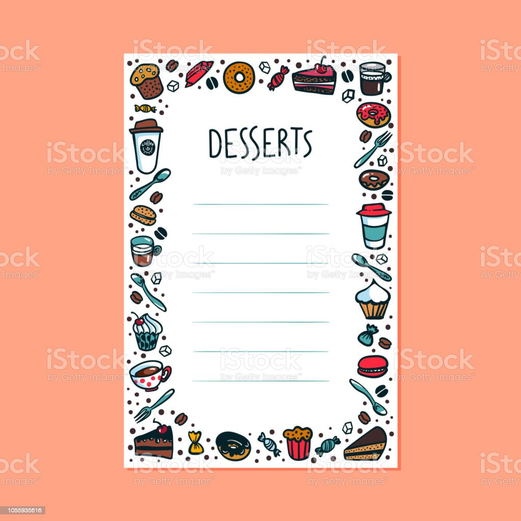 desserts menu template colourful doodle style coffee cups pastry and