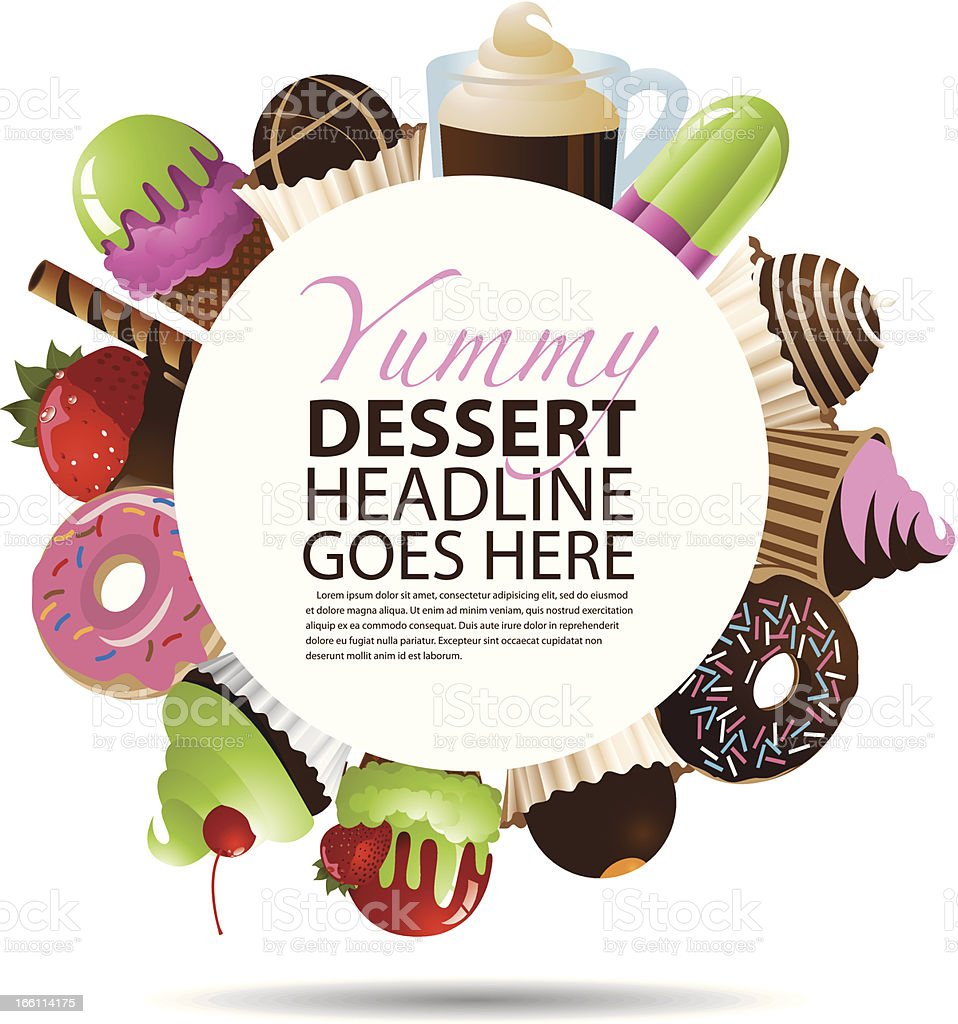 Desserts Round Background vector art illustration