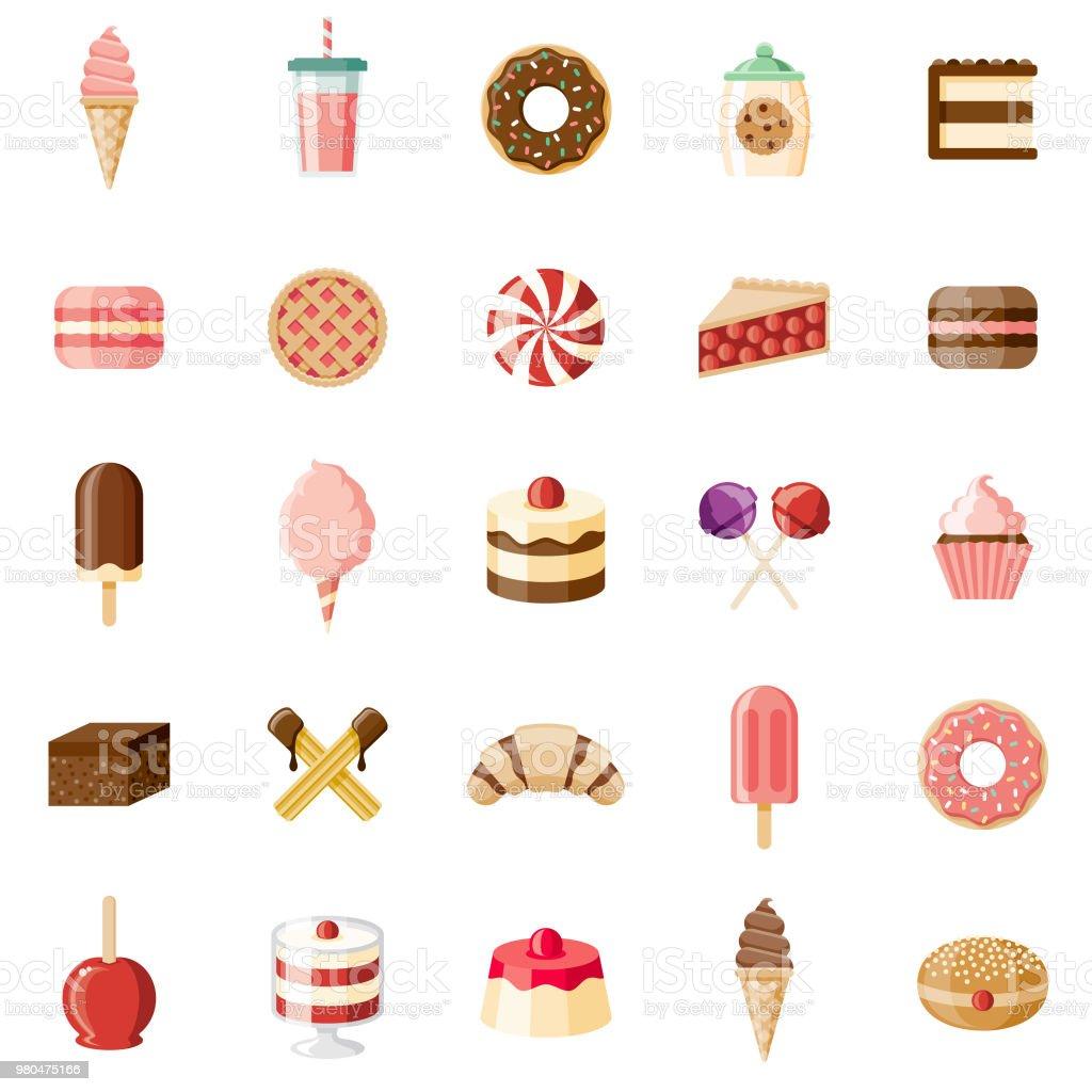 Desserts & Sweet Foods Flat Design Icon Set - Royalty-free Algodão-Doce arte vetorial