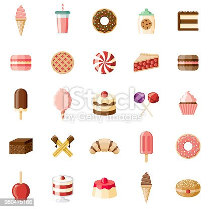 A set of flat design styled desserts and sweet foods icons with a long side shadow. Color swatches are global so it's easy to edit and change the colors. File is built in the CMYK color space for optimal printing.