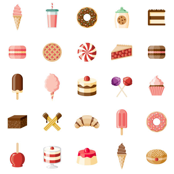 Desserts & Sweet Foods Flat Design Icon Set A set of flat design styled desserts and sweet foods icons with a long side shadow. Color swatches are global so it's easy to edit and change the colors. File is built in the CMYK color space for optimal printing. cake stock illustrations