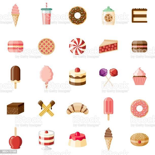 Desserts Sweet Foods Flat Design Icon Set - Arte vetorial de stock e mais imagens de Algodão-Doce