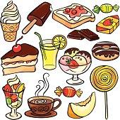 Desserts, sweets, drinks icon set