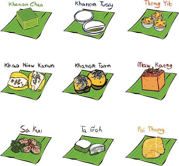 desserts thailand - thai food stock illustrations, clip art, cartoons, & icons