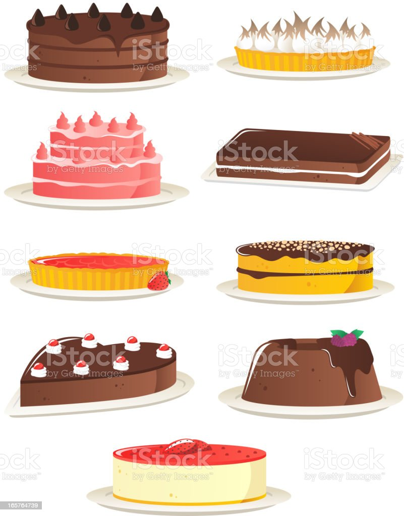 Desserts vector art illustration