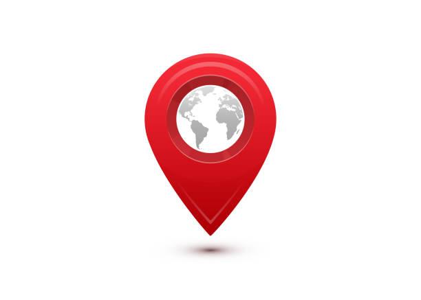 stockillustraties, clipart, cartoons en iconen met bestemming concept. internationale reizen reis. rode aanwijzer met grijze wereldkaart binnen - new world