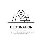 Destination Vector Line Icon - Simple Thin Line Icon, Premium Quality Design Element