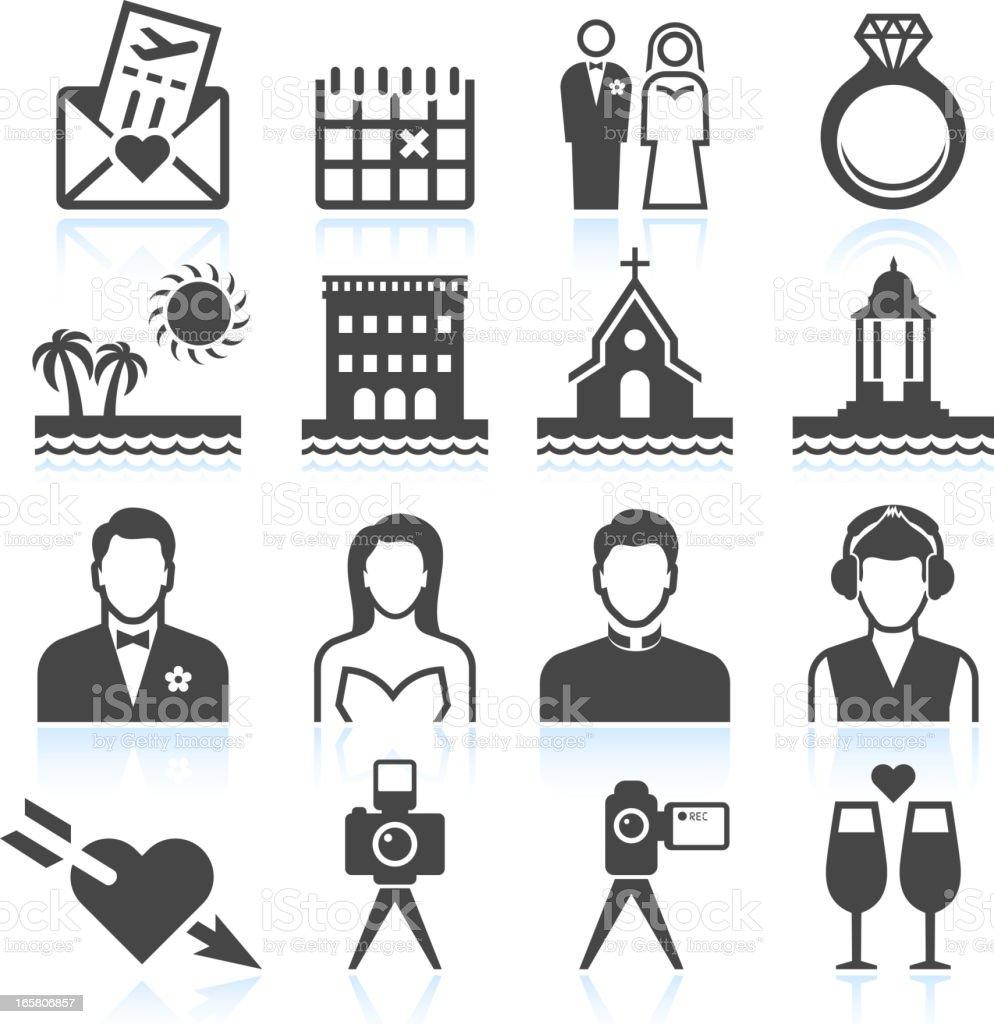 Destination Wedding black & white royalty free vector icon set royalty-free stock vector art