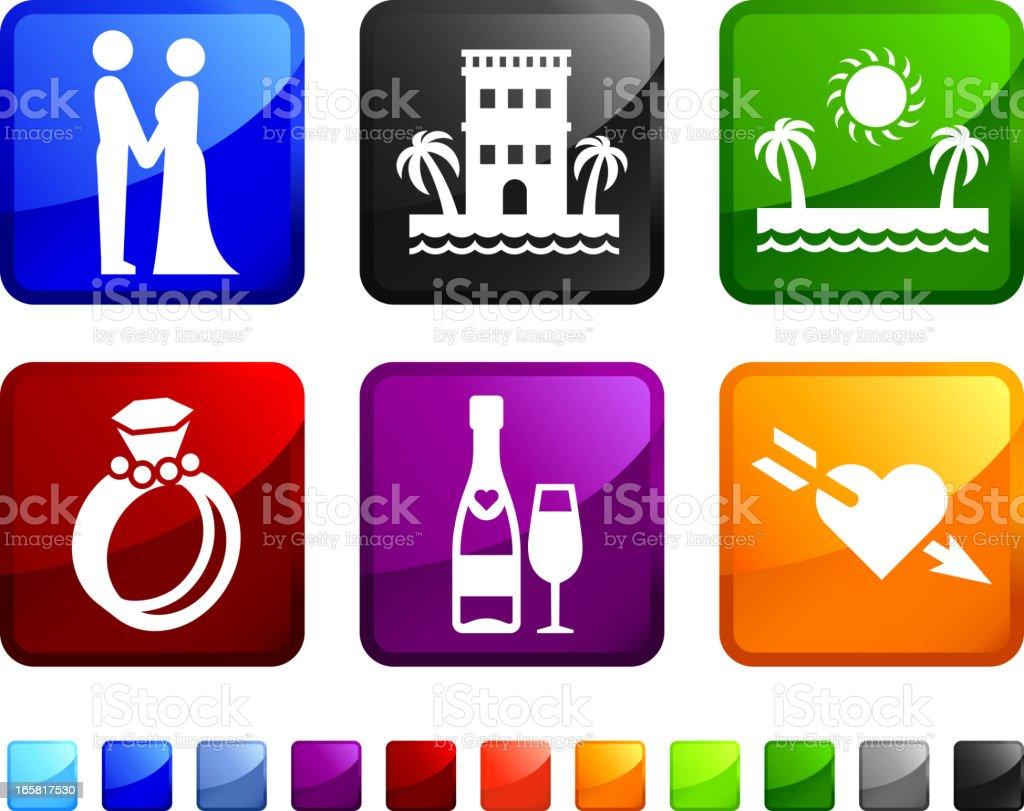 Destination Wedding royalty free vector icon set stickers vector art illustration
