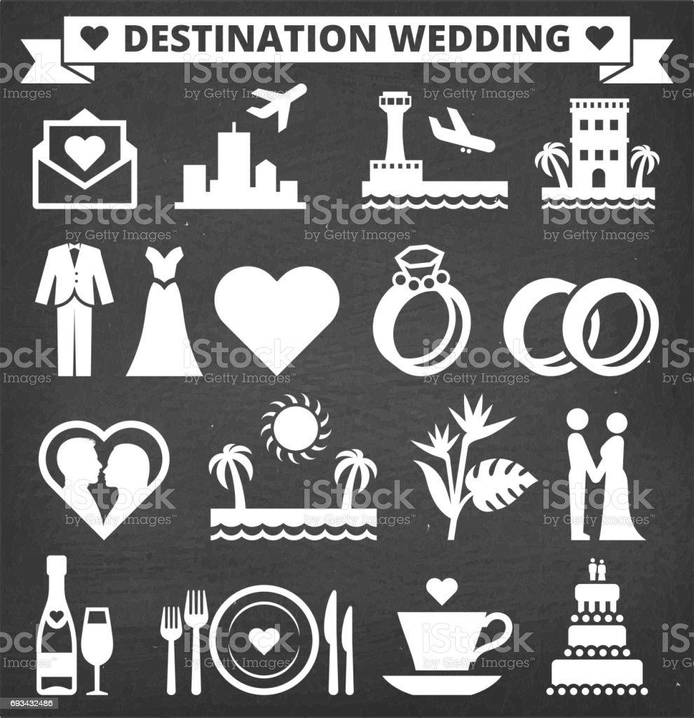 Destination Wedding Vector Icon Set on Black Chalkboard vector art illustration