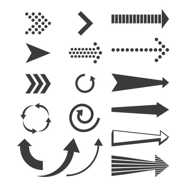 Destinations and arrows set vector art illustration