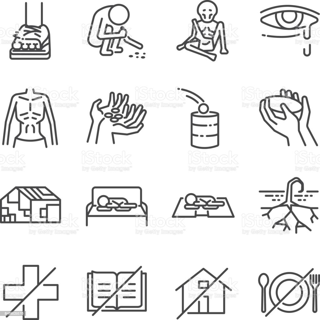 Destitution line icon set. Included the icons as scraggy, skinny, starving, homeless, beggar, poor and more. vector art illustration
