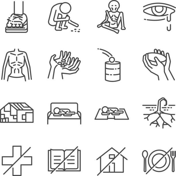 Destitution line icon set. Included the icons as scraggy, skinny, starving, homeless, beggar, poor and more. Destitution line icon set. Included the icons as scraggy, skinny, starving, homeless, beggar, poor and more. hungry child stock illustrations