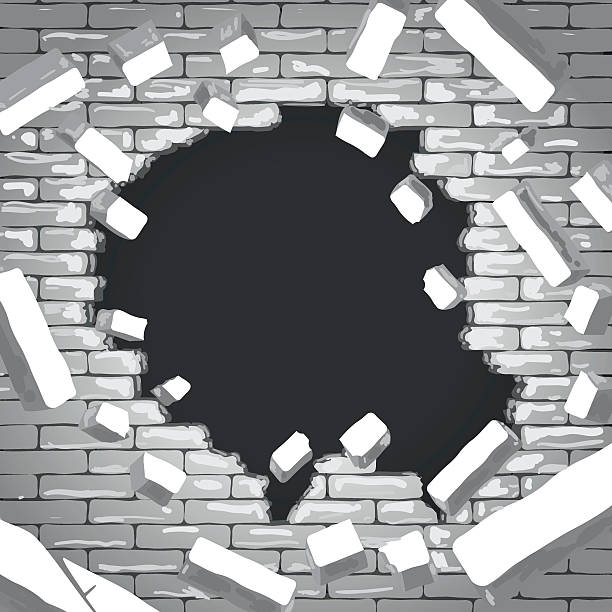 Destroyed brick wall vector art illustration