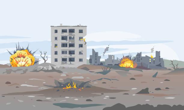 bildbanksillustrationer, clip art samt tecknat material och ikoner med förstörda byggnader av krig - krig