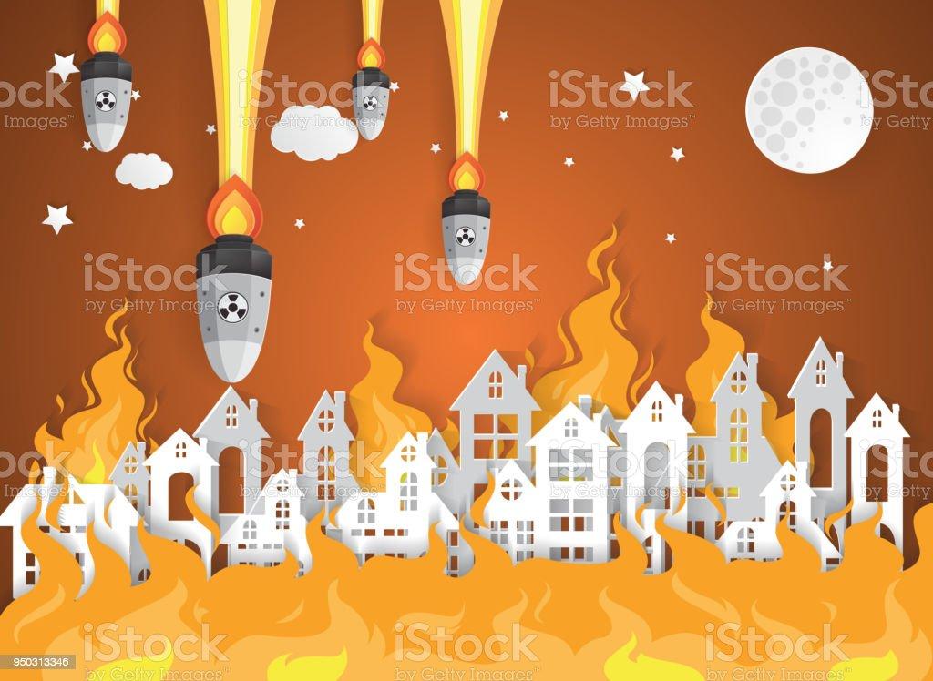 Ilustración de Aldea De La Ciudad Destruida Con Fuego Guerra Nuclear ...