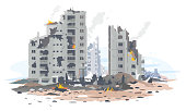 Eastern european destroyed buildings between the ruins and concrete, war destruction concept illustration isolated on white background, destroyed residential neighborhood landscape creative concept