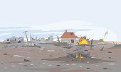 Destroyed village landscape background