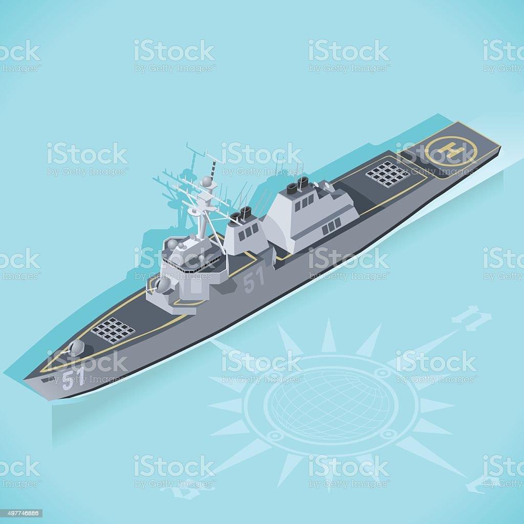 Destroyer 01 Vehicle Isometric vector art illustration