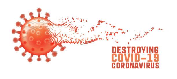 Zerstörung des Coronavirus und Ausblenden des covid-19-Konzepts – Vektorgrafik