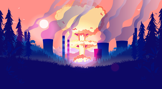 Destroying the planet - Nuclear bomb and pollution in landscape