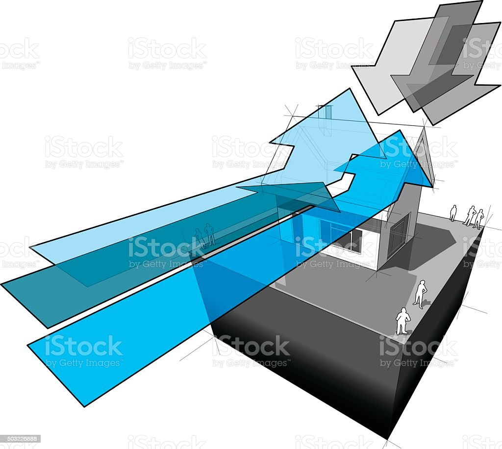 detached house and weather arrows vector art illustration