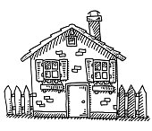 Hand-drawn vector drawing of a Detached House. Black-and-White sketch on a transparent background (.eps-file). Included files are EPS (v10) and Hi-Res JPG.