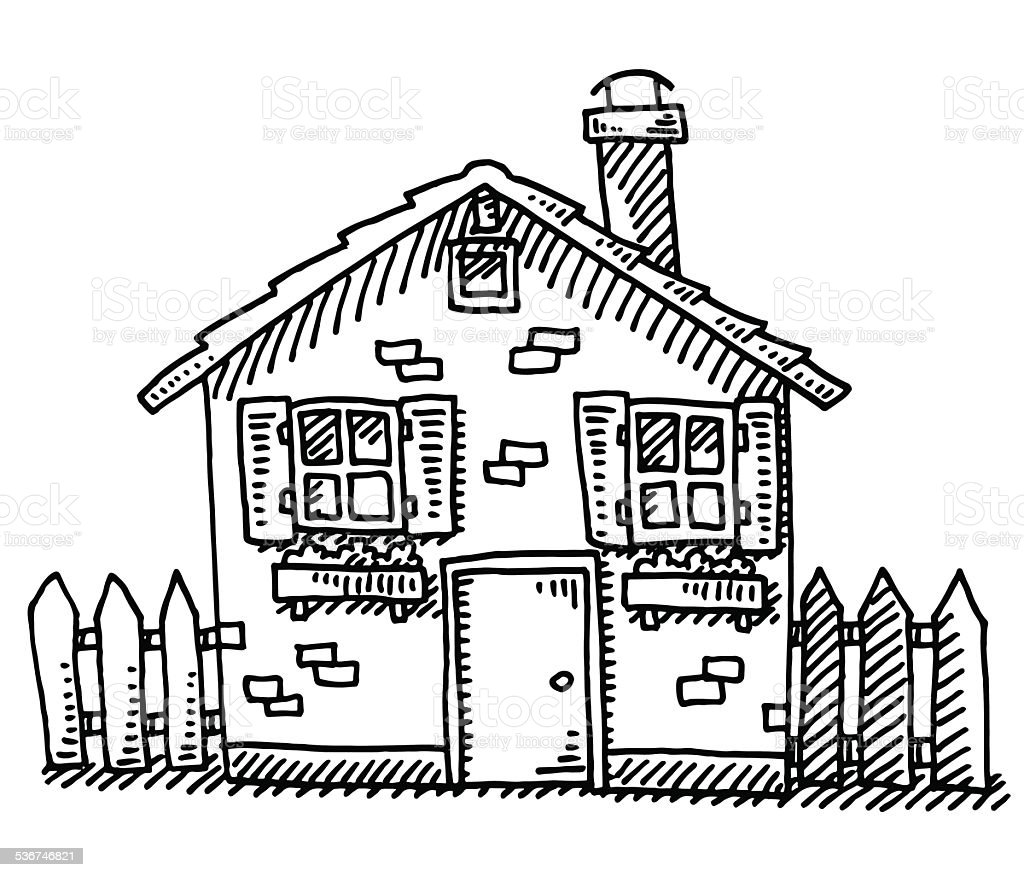 Detached House Drawing vector art illustration