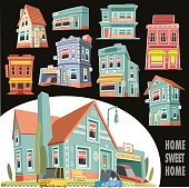 Easy editable detached house set vector  illustration. All elements was layered seperately...