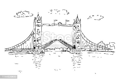 istock Detail Black and white Manual Sketch London Brigde cloud and gate england 1144539830