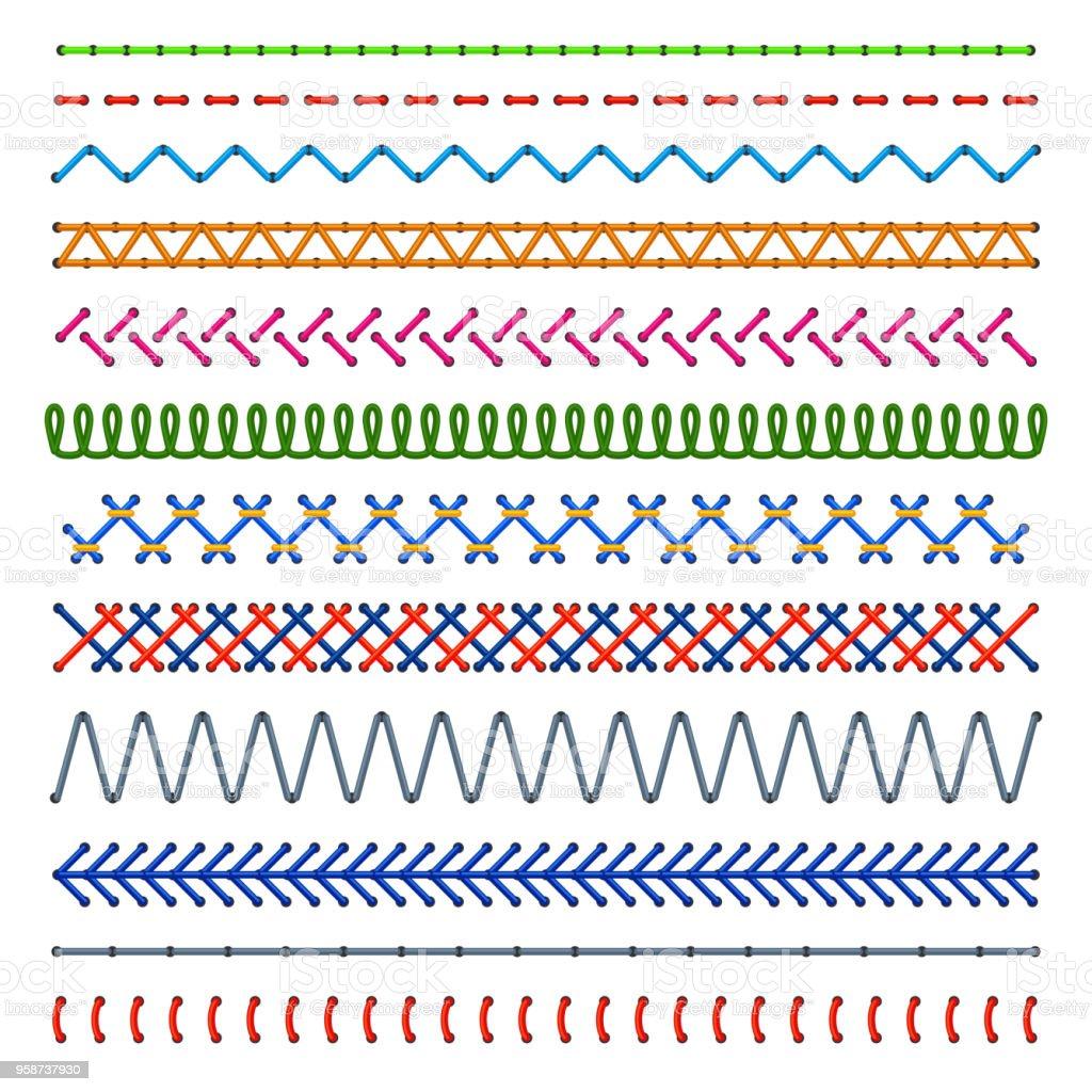Ilustración de Detalle Cosido Patrones Coser Las Costuras De Color ...