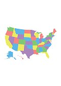 Detail USA map for each country. United States of America