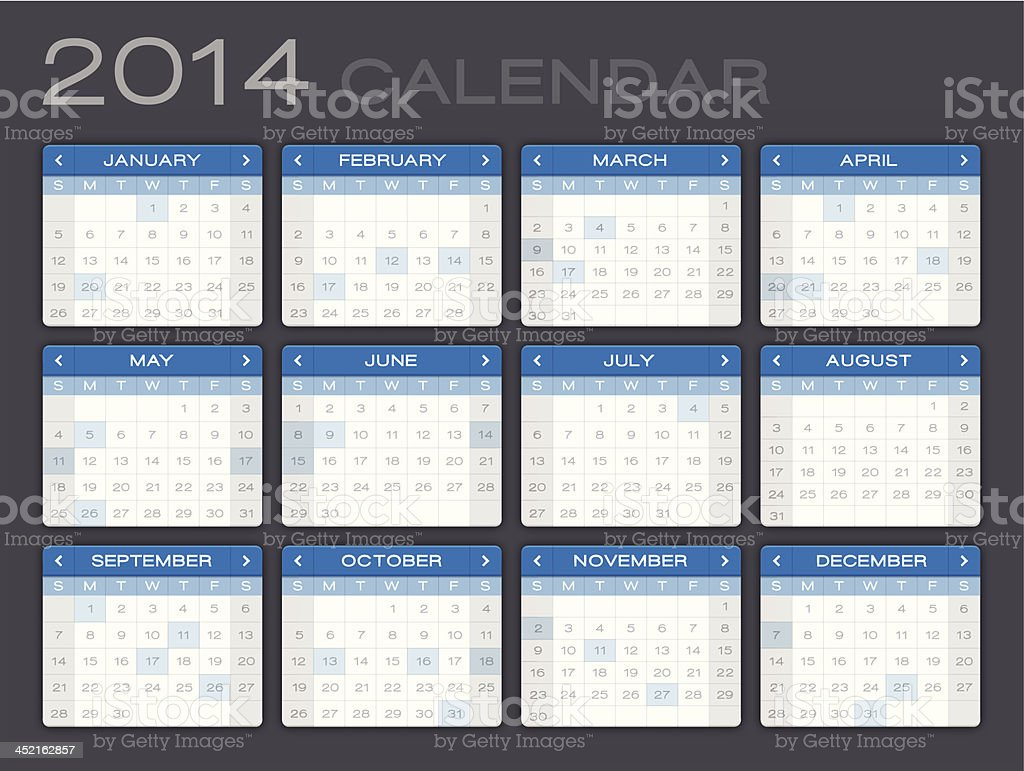 Detailed 2014 Calendar royalty-free stock vector art