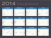 Detailed 2014 Calendar with separate layer showing major US holidays. Zoom in to see the detail. EPS 10 file. Transparency effects used on highlight elements.