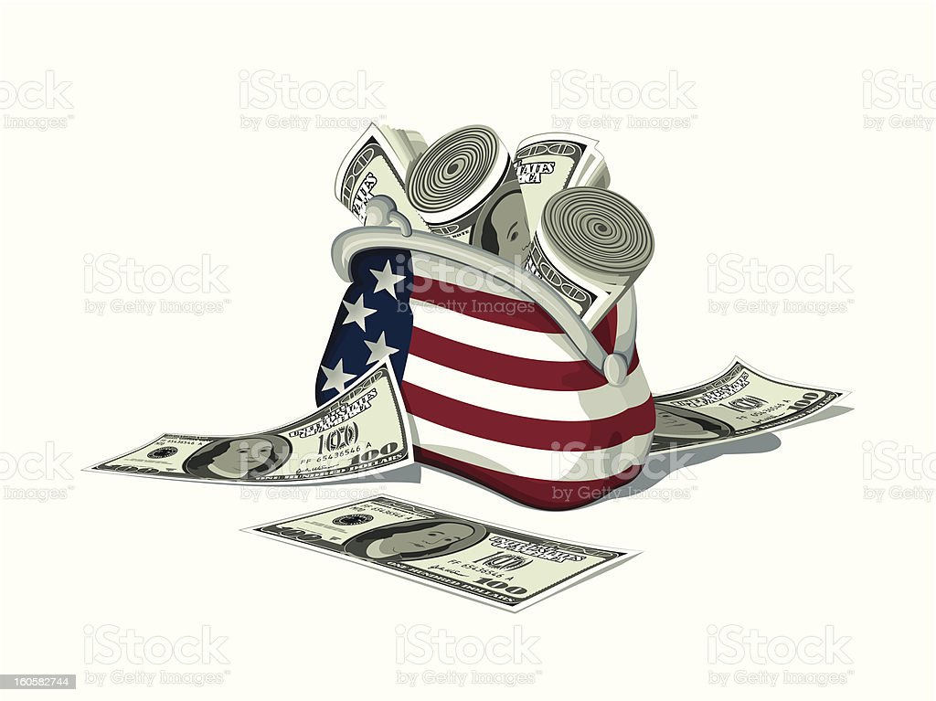 Detailed American purse full of dollars. royalty-free stock vector art