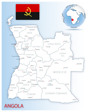 Detailed Angola administrative map with country flag and location on a blue globe.