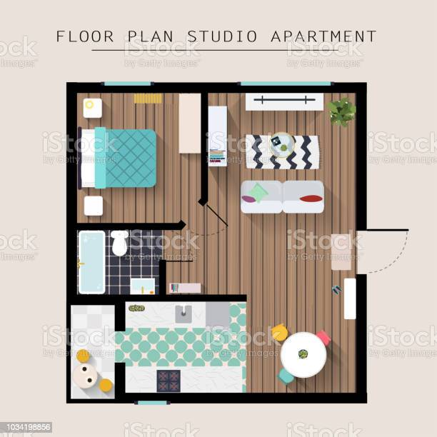 Detailed Apartment Furniture Overhead Top View Studio Apartment With One Bedroom Flat Style Vector Illustration Stock Illustration Download Image Now Istock