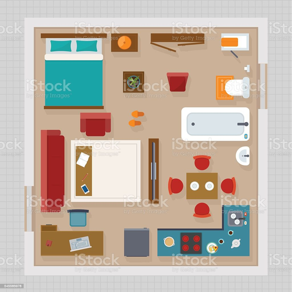 Detailed apartment furniture overhead top view stock for Plano habitacion