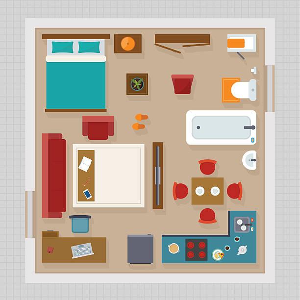 detailed apartment furniture overhead top view - bodenbetten stock-grafiken, -clipart, -cartoons und -symbole