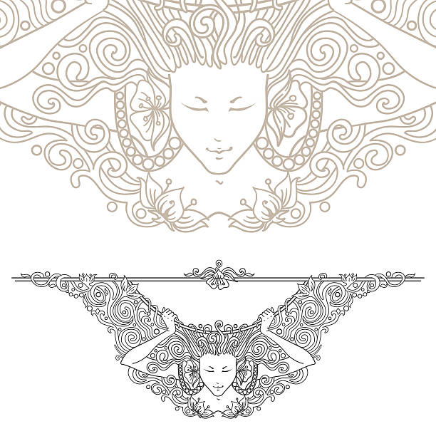 illustrations, cliparts, dessins animés et icônes de détail art nouveau diviseur décoratif vintage gravé pour femme. - femme seule s'enlacer