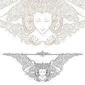 Detailed art-nouveau decorative divider as vintage engraved woman.