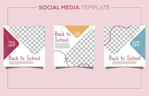 Detailed back to school social media posts collection with photo. Geometric shapes and pastel color background.
