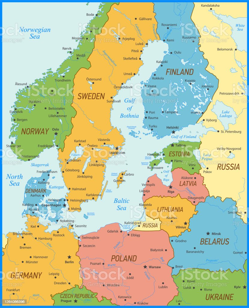 Detailed Baltic Sea Area Map With Capital Cities Rivers And National Borders Stock Illustration Download Image Now Istock