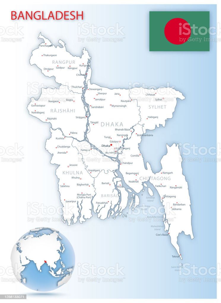Picture of: Detailed Bangladesh Administrative Map With Country Flag And Location On A Blue Globe Stock Illustration Download Image Now Istock