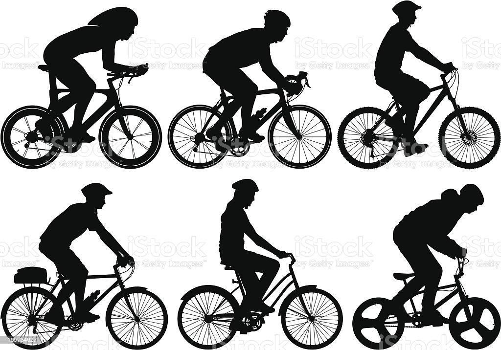 Detailed Bike Riders royalty-free stock vector art