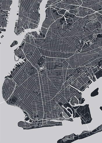 Detailed borough map of Brooklyn New York city, monochrome vector poster or postcard city street plan aerial view